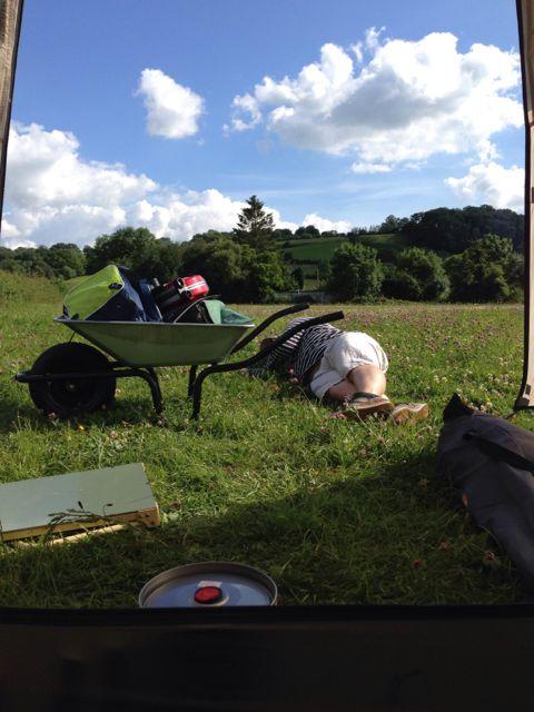 camping at Glastonbury